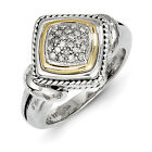Diamond Ring .925 Sterling Silver & 14K Gold Accent 0.125 Ct Sz 6-8 Shey Couture
