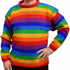 FAIR TRADE  RAINBOW WOOL JUMPER HIPPY BOHO  M L XL 2XL 3XL 12 14 16 18 20 22