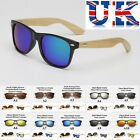 Mens Womens Sunglasses With Real Bamboo Wood Arms ** 10 Colours **UK Seller*