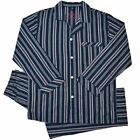 Pyjamas Mens 100% Cotton Long 2 pc PJs Set (Sz S-XXL) Navy Blue Stripe Sz S M L