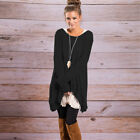 Womens Loose Long Sleeve Casual Blouse Shirt Tops Fashion Long T-shirt Tunic New