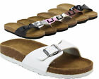 WOMENS MOJO FOOTBED SUEDE INSOLE FLAT SLIP ON MULE SANDALS SHOES SIZES 3 - 9 NEW
