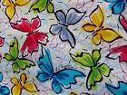 Colorful Butterflies White Print Red Blue Green Cotton Fabric BY YARD/HALF YARD