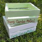 """Personalized Fairy Garden Planter (Hand-Painted Lined Wood Crate 12"""" x 10 x 5"""")"""