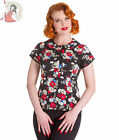 HELL BUNNY HEATHER vintage style FLORAL BLOUSE shirt TOP BLACK