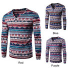 New Men's Ethnic Print Thermal Underwear Warm Pullover Long Sleeve T-shirts Tops