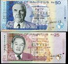 MAUTITIUS SET 2 PCS 25 50 RUPEES 2009 P 49 50 UNC