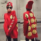 Quality Women Emoji Embroidery Thick Loose Pullover Sweater Coat Jumper Knitwear