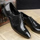 Hot # New Men Business Leather Black Red Pointy Toe Lace up Formal Dress Shoes