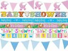 Baby Shower Party Banner Decorations Foil Cardboard Boy Girl Banners Blue Pink