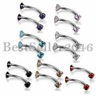 Pair Eyebrow Ring 3MM CZ Ball Bar Tragus Curved Barbell Steel Body Piercing Gift