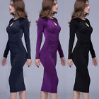Fashion Knee Length Hollow Overlapping DressFashion Women Lady Long Sleeve Dress