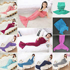 Kids Mermaid Tail Crocheted Cocoon Lapghan Sofa Blanket Rug Quilt Knit Blanket