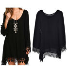 Lace A-line MIni Dress Fashion Long Sleeve Tassels Irregular Black Dresses EW