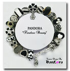 """""""Timeless Beauty"""" Black/White, Authentic Pandora Sterling Silver Chain w/ Charms"""