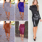 Women's Wet Look High Waist Faux Leather Midi Pencil Skirt Wiggle Bodycon Dress