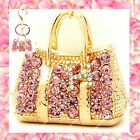 Rhinestone Pink Crystal Gold Handbag Purse Charms Keychain Bling Accessories lot