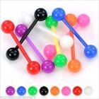 "1 PIECE 14g 5/8"" Tongue Nipple Barbell Bioflex Neon Colors Acrylic 6MM Ball"