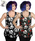BANNED SKULL ROSES alternative VEST goth TOP BLACK WHITE RED