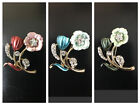 Modest Wear Fashion Hijab Pins Bridal Brooches Gold Flower' With Rhinestones