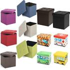 Linen Fabric/Leather Ottoman Cube Footrest Storage Stool Box Pouffe Padded F0T7