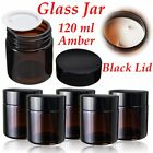 120 ml Amber Glass Jar Bottles With Black Lid For DIY Cosmetics Candles Spices