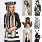 Fashion Unisex Womens Faux Fur Animal Hat&Long Scarf Paws Mittens Gloves Beanies