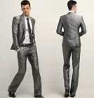 Mens Man Formal Suit Slim Fit One Button Suits Set Jacket+pants Silver NEW