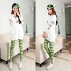New Spring Women Girl Skinny Colorful Stripe Stretchy Soft Leggings Pencil Tight