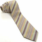 VINTAGE KARL LAGERFELD 56L Gray Mauve Red Pine Maize Striped Silk Mens Neck Tie