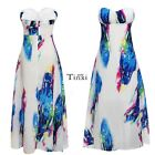 Women Boho Floral Sleeveless Evening Party Dress Long Maxi Long Beach Dresses