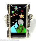 Multicolor & Fire Opal, Star, Moon Inlay 925 Sterling Silver Ring Size 5-10