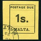 MALTA-1925 1/- Black/Buff Postage Due Sg D9 VERY FINE USED V13474