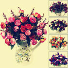1 Bouquet 21 Head Artificial Rose Silk Flowers Capable Home Party Wedding Decor