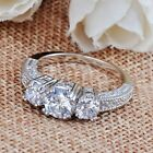 Size 6-9 White Sapphire Engagement Wedding Ring Silver Plate Crystal Rhinestone