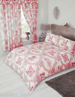 Toile De Jouy Red White Floral Country Horse Dog Coral Pink Bedding Or Curtains