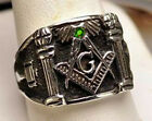 Authentic STERLING SILVER 925 Emerald MASONIC RING Freemason Jewelry freemasonry
