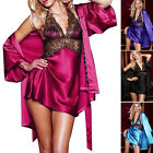 Womens Silk Bath Robe Sexy Babydoll Sleepwear Lingerie Mini Dress Pajamas Set ;