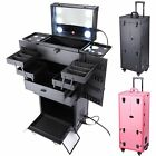 Rolling Studio Makeup Multifunction Case w/Lights Mirror Cosmetic Organizer Opt