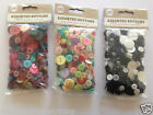 Assorted Sewing Craft Buttons mixed Sizes Bright Pastel Black & White 100g Bag