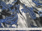 Discount Fabric Printed  Spandex Stretch Blue Paisley On Storm Clouds  400A