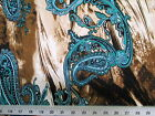 Discount Fabric Printed Spandex Stretch Turquoise Paisley On Storm Clouds 401A