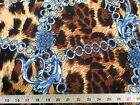Discount Fabric Printed Lycra Spandex Stretch Chains On Big Cat Blue Brown 302C