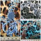 Discount Fabric Printed Lycra Spandex Stretch Choose Your Color Big Cat Chains P
