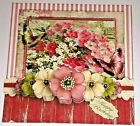 Handmade Greeting Card 3D All Occasion Vintage Style With Flowers
