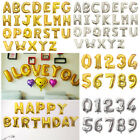 New Gold/Silver Foil Letter Number Balloons Birthday Wedding Party Decoration