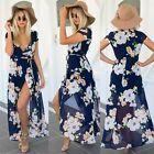 Womens Boho Summer Casual Floral Sundress Party Beach Long Maxi Split Dress TXWD