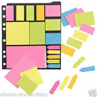 Ringbinder Sticky Post It Notes Set Pad Memo Label Bookmark Pointer Neon Flags