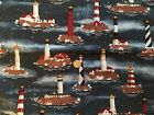 NAUTICAL : Moonlight LIGHTHOUSES :100% cotton fabric by the 1/2 metre