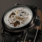 KS Skeleton Mens Automatic Mechanical Genuine Leather Wrist Watch +Box